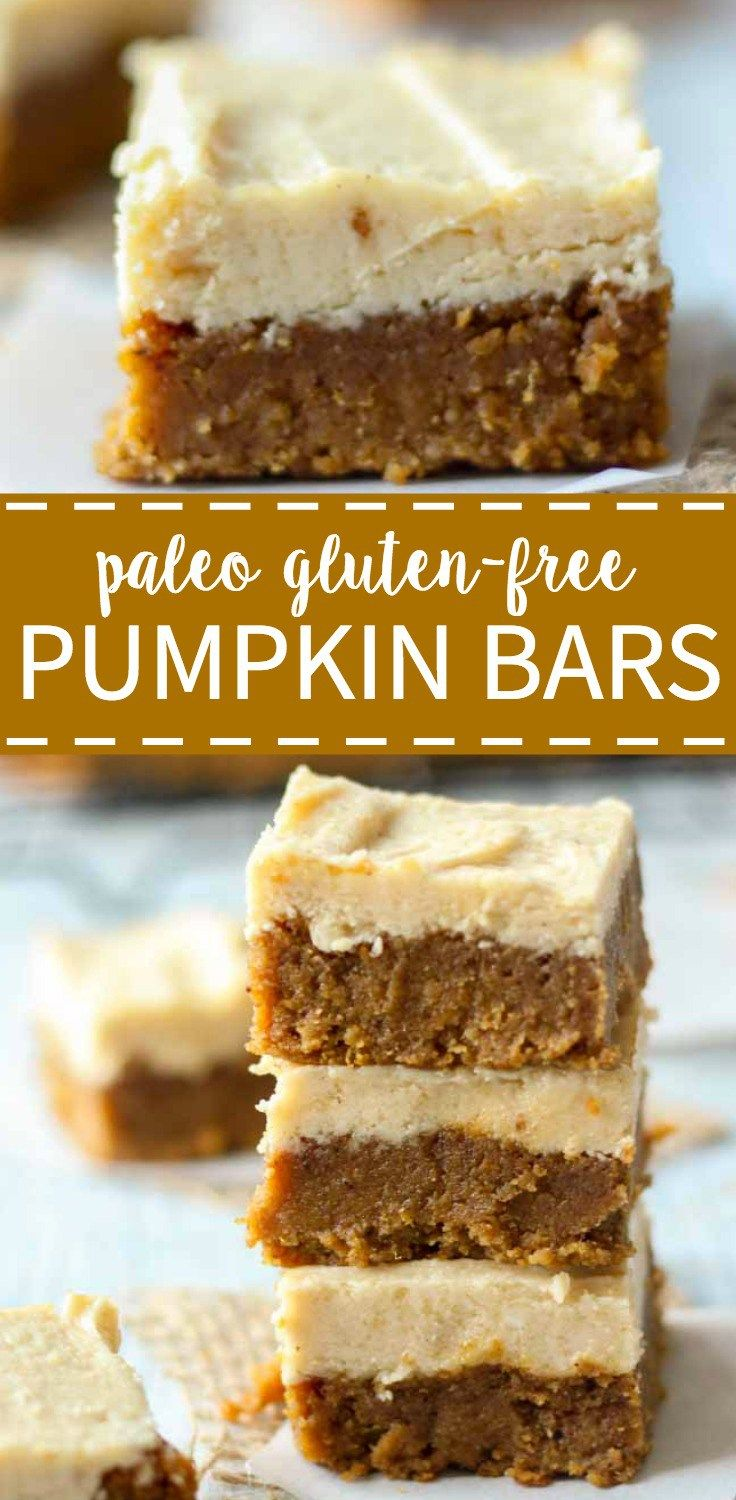 Paleo pumpkin bars with maple frosting. These bars are healthy, gluten-free, refined sugar free and paleo! Theyre perfect for a