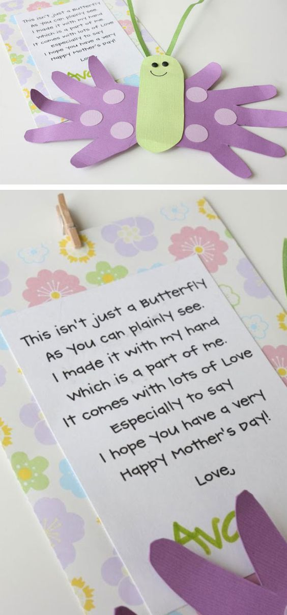 Mothers Day Butterfly Card and Poem | Click Pic for 22 DIY Mothers Day Craft Ideas for Kids to Make | DIY Mothers Day Crafts for