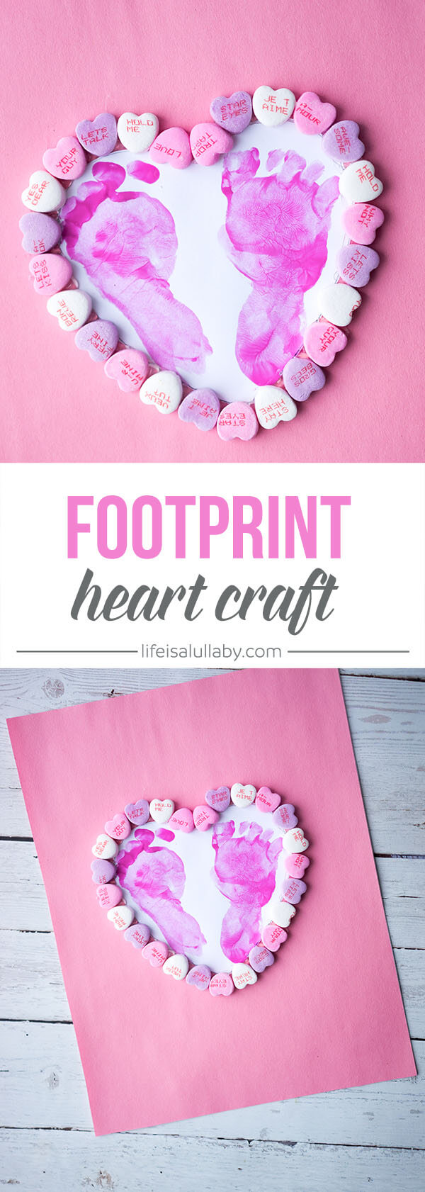 This footprint heart craft is SO CUTE! This is such a nice idea for Valentines Day or Mothers day as a gift or can be framed.