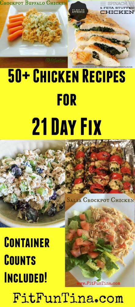 If you're looking for chicken inspiration, here are 50+ 21 Day Fix Recipes to get you started (container counts included). For