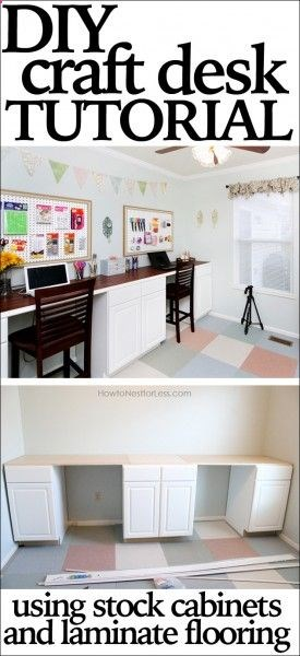 DIY craft desk tutorial — double desk!!!!!! Using base kitchen cabinets and plywood covered with laminate flooring for the top