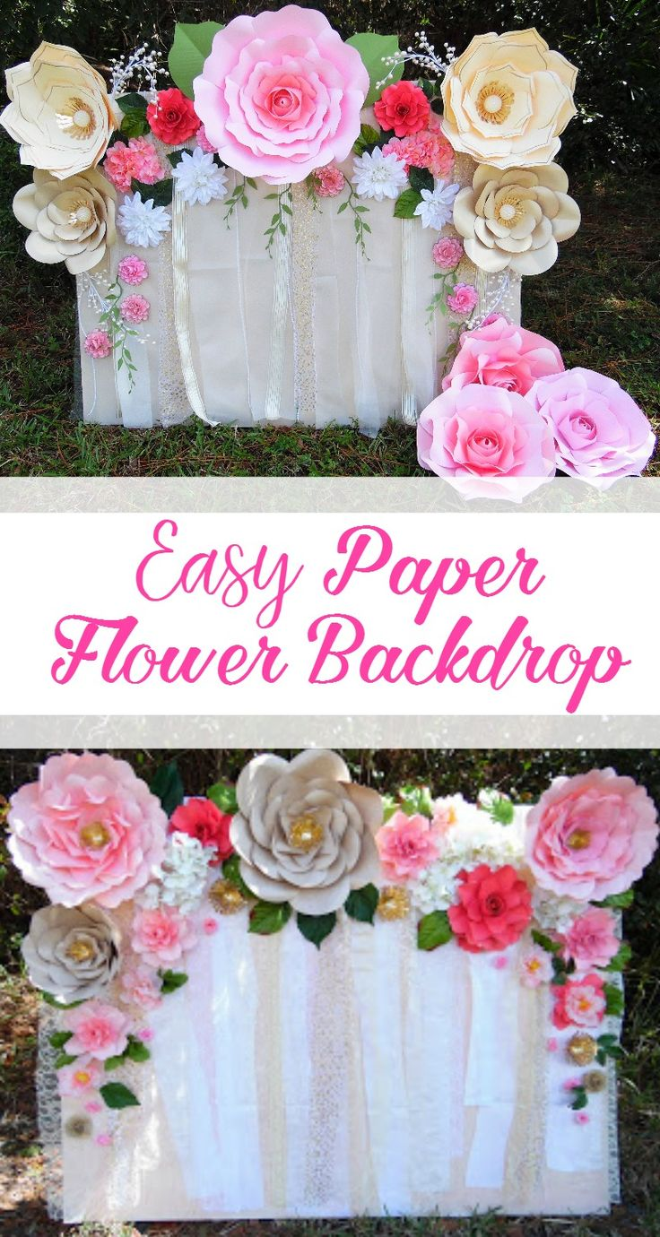 Learn how to make this quick and easy paper flower backdrop. Flower templates and tutorials available.Giant paper flowers. #DIY
