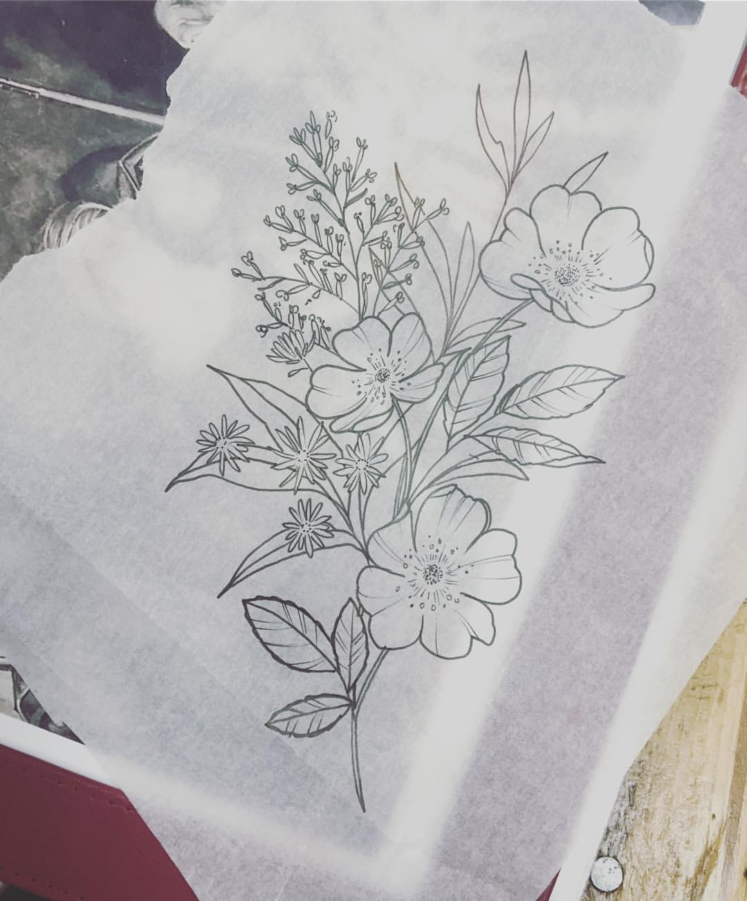 Wildflowers Sketch–pre tattoo.