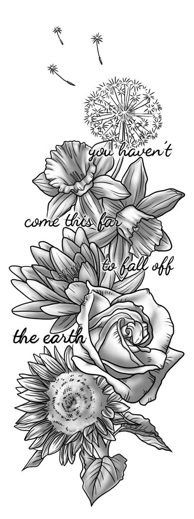 Tattoo design commissioned by a friend. Each flower represents the people most important to her in her life. Shes also a big fan