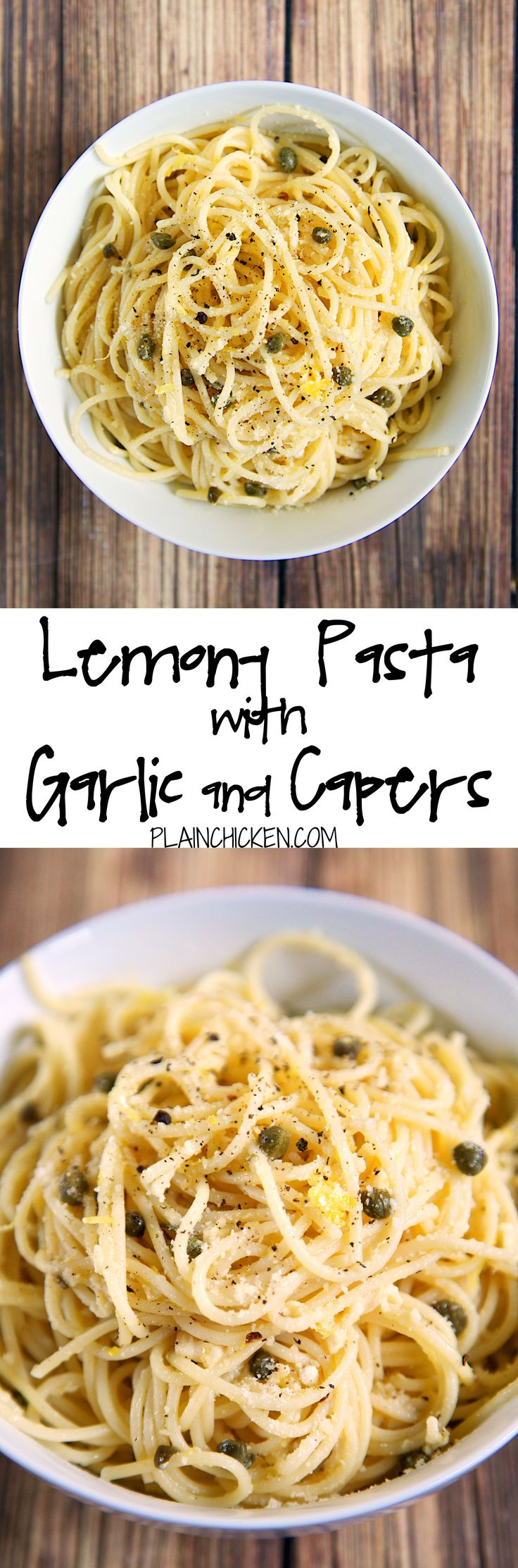 Lemony Pasta with Garlic and Capers recipe – quick pasta dish tossed with olive oil, lemon, garlic, capers and parmesan –