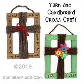 Cardboard and Yarn Cross Craft for Childrens Ministry from www.daniellesplace.com