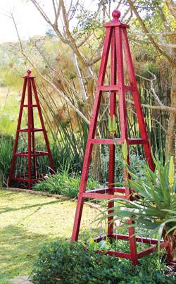 Make your own pyramid-shaped trellises:  attractive décor items, elegant supports for climbing plants, and intriguing frames for