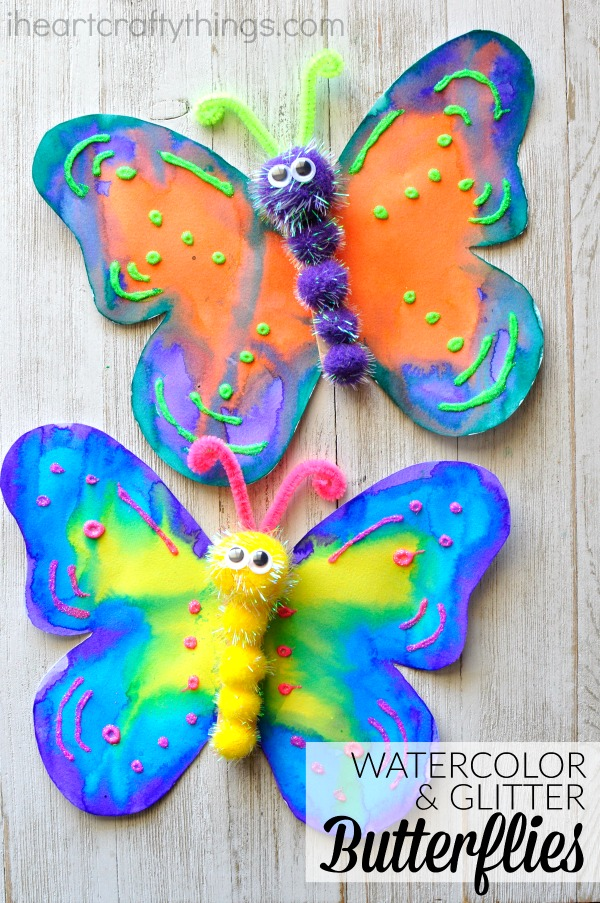 This gorgeous butterfly craft makes a great spring kids craft, insect craft for kids, preschool kids craft, fun kids crafts and