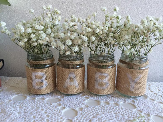 Are you having or organising a Baby Shower? These little rustic jars make an ideal addition to your table decorations. Place near