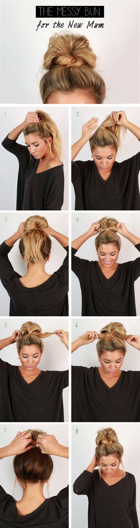 Cool and Easy DIY Hairstyles – Messy Bun – Quick and Easy Ideas for Back to School Styles for Medium, Short and Long Hair – Fun