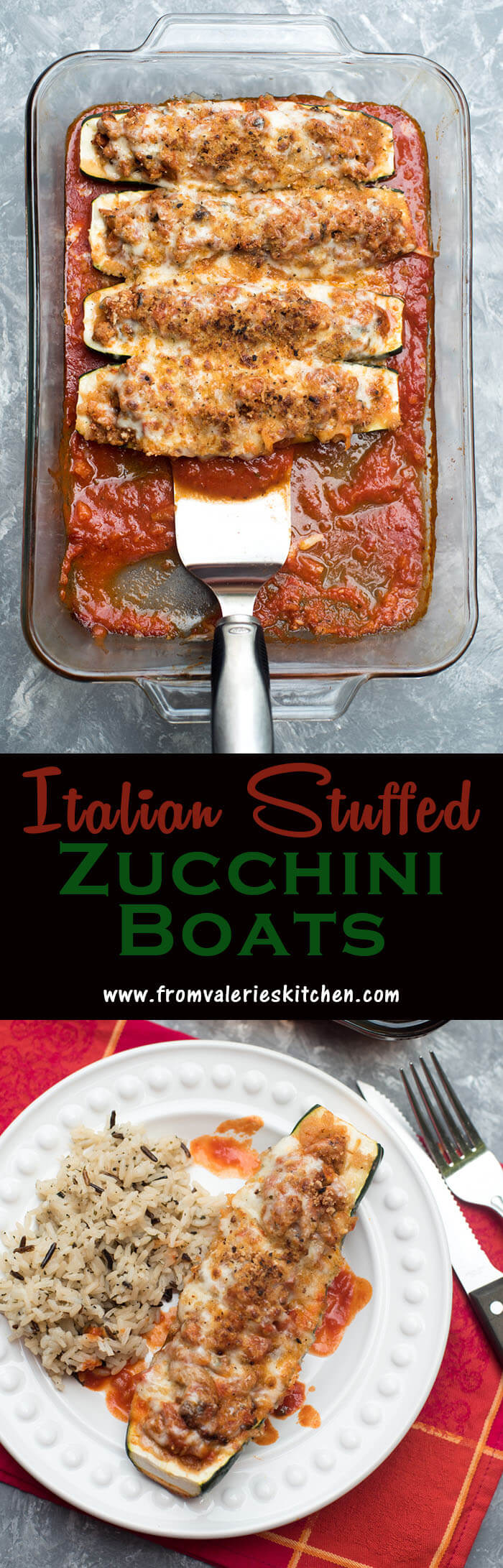 These low-carb Italian Stuffed Zucchini Boats are packed with flavor and nutrition! A lean turkey and veggie filling is topped