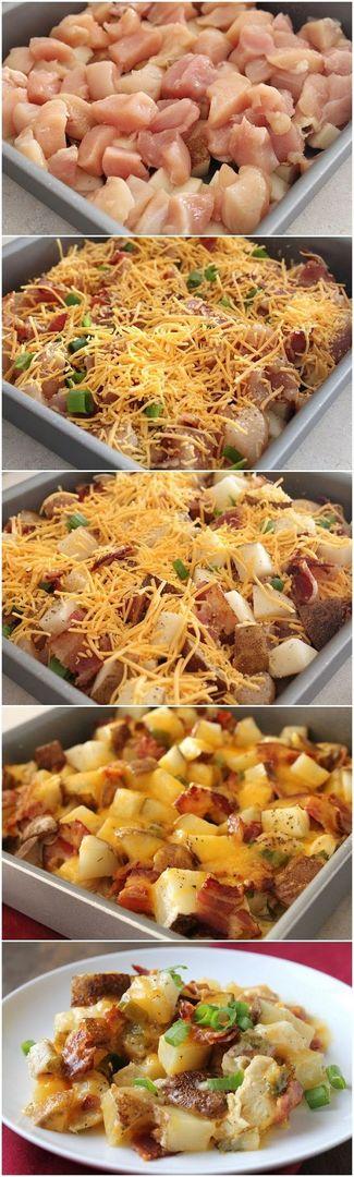 Loaded Baked Potato & Chicken Casserole | Cookboum #main_dish_casserole_recipes