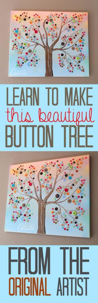 DIY Projects and Crafts Made With Buttons – Vibrant Button Tree On Canvas – Easy and Quick Projects You Can Make With Buttons –