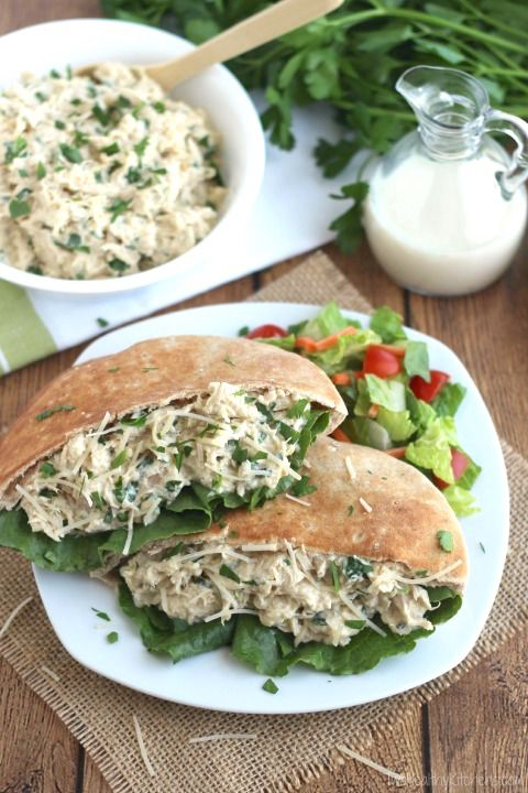 These easy Crock Pot Chicken Caesar Sandwiches are so quick and easy! The perfect keep-the-kitchen-cool summer dinner! ~ from Two
