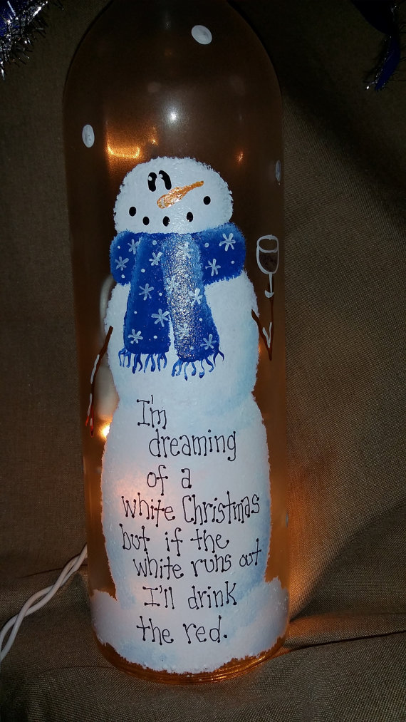 Lighted painted wine bottle for Christmas by KarensWineSeller