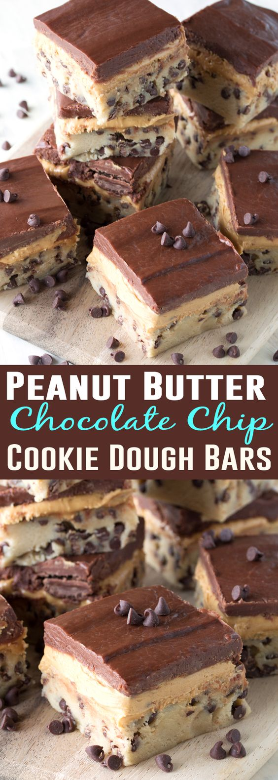 Chocolate chip cookie dough, peanut butter cup filling, and a chocolate ganache create three layers of no bake goodness. No Bake