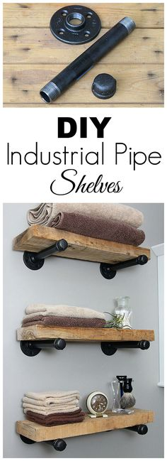 Super easy step by step tutorial for how to make DIY industrial pipe shelves at a fraction of the cost of the store bought