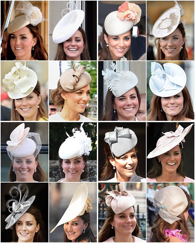 Kates light coloured headpieces Id love to see how she stores all of these! What I wouldnt give for a glimpse at her wardrobe..