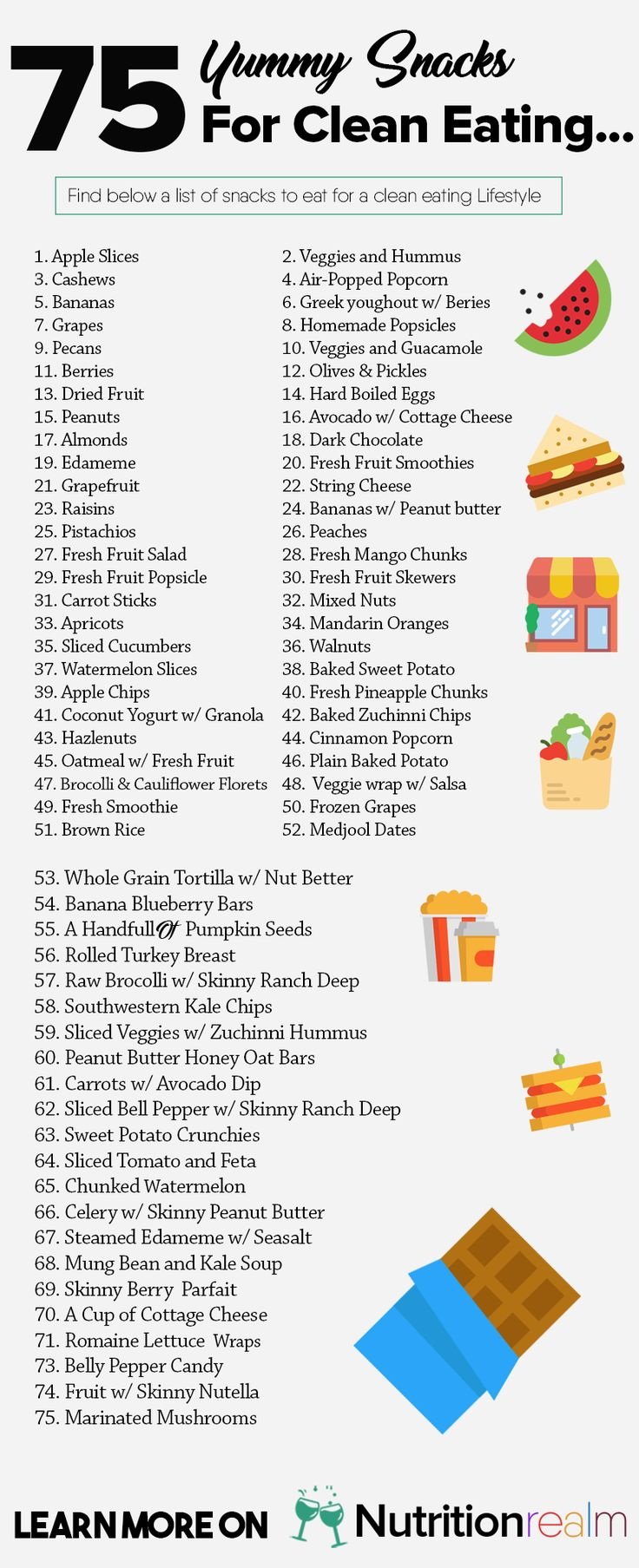 If youre looking for a complete snacks list for weight loss then this collection of 75 clean eating snacks under 100 calories is