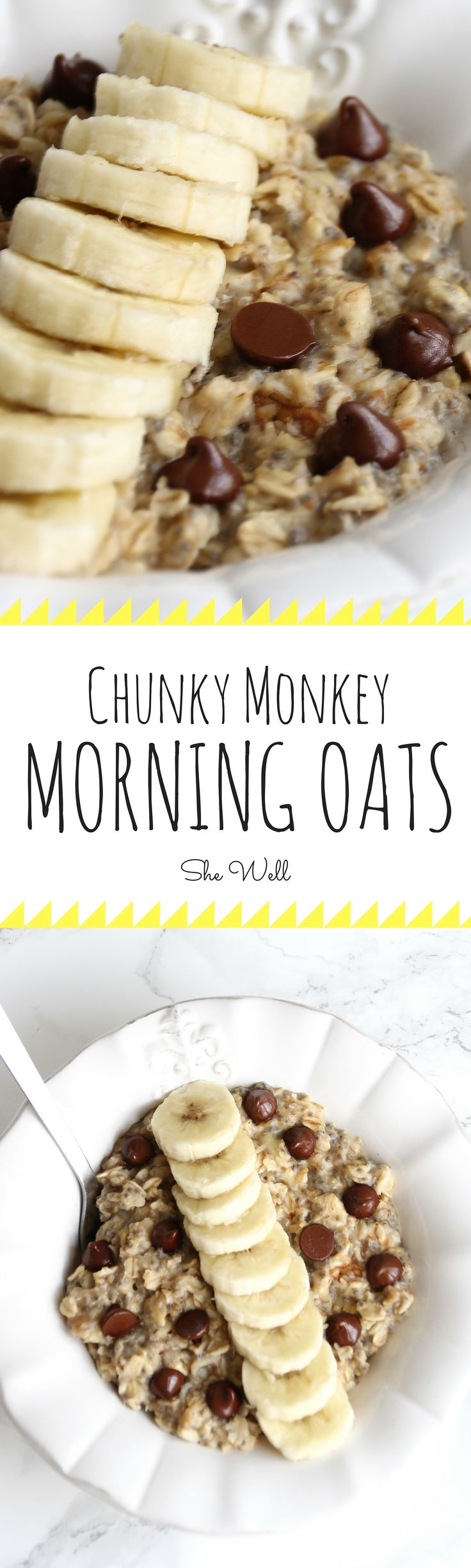 Easy banana, chocolate & peanut butter Chunky Monkey Morning Oats! The perfect breakfast for people who are vegan, vegetarian,