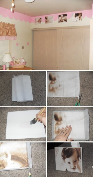DIY Tutorial for Printing Pictures On Tissue Paper And Mod Podging Onto Canvas.