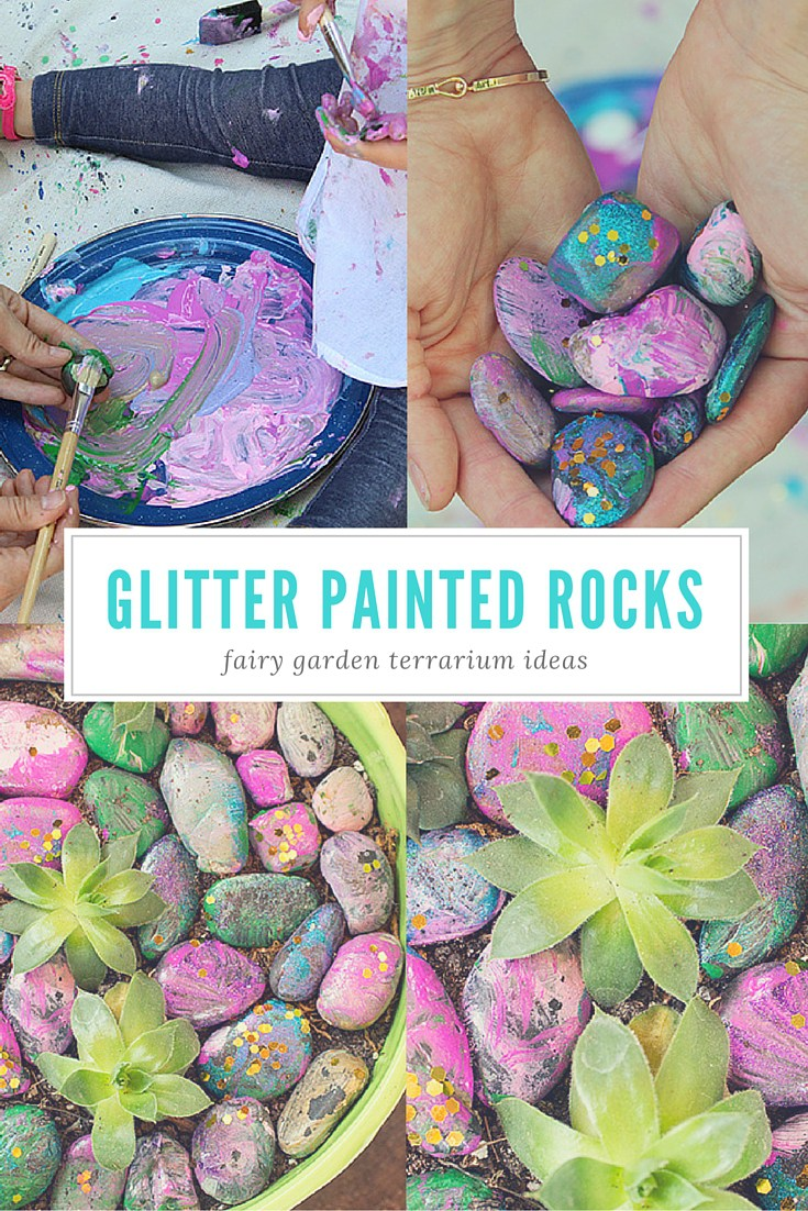 Brighten up your terrarium with glittery, painted rocks from the garden. These make adorable, take home centerpieces for your baby