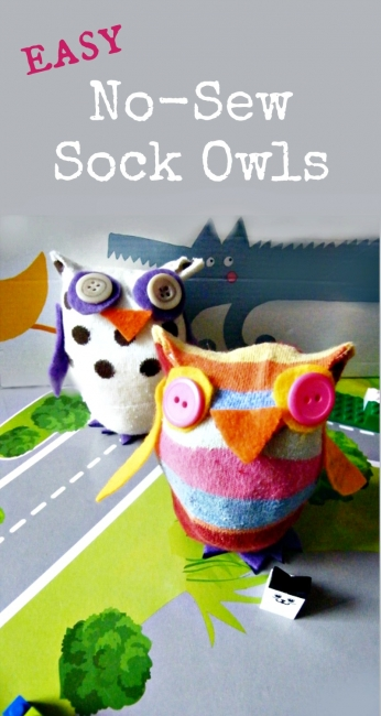 So, if you have some random socks lying around… you can make these no-sew owls 1-2-3. The can be cute for a child's room or as