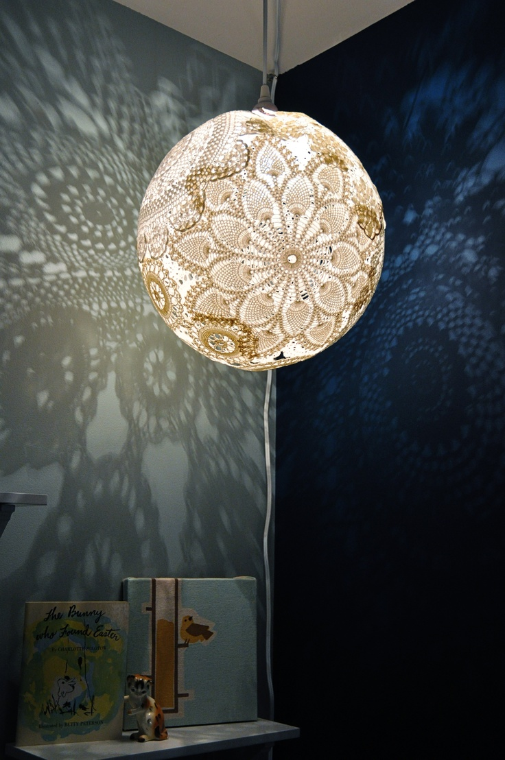 DIY doily lamp. You can make this for less than $10 if you're thrifty,  and it is SO DAMN COOL!