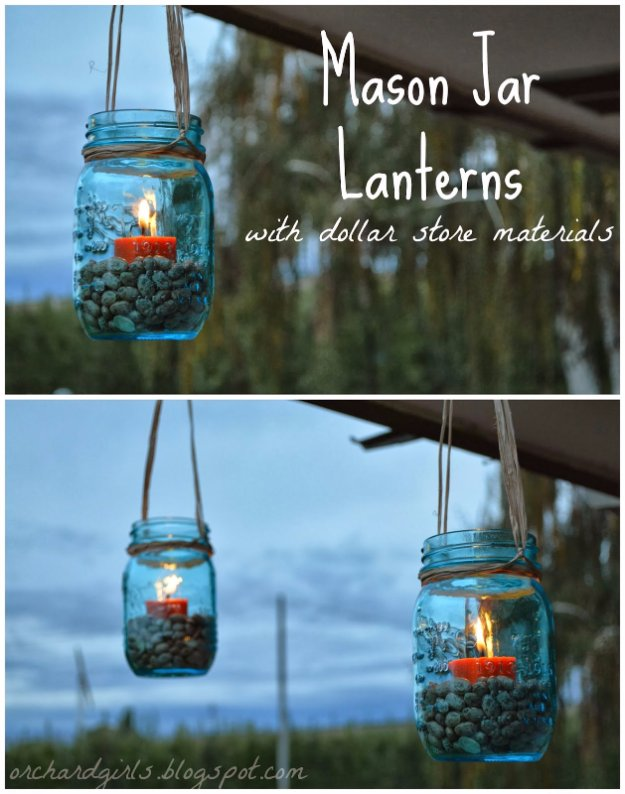 DIY Porch and Patio Ideas -Mason Jar Lanterns  – Decor Projects and Furniture Tutorials You Can Build for the Outdoors -Swings,