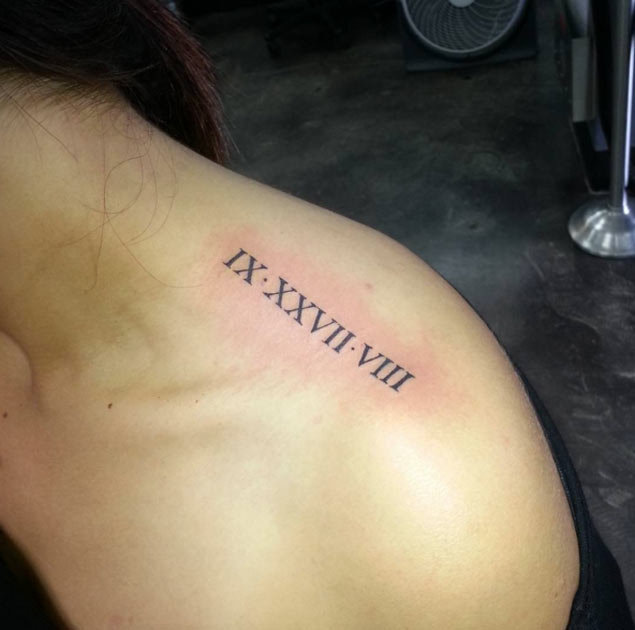 Roman Numeral Tattoo Design on Shoulder by Dakas Victor