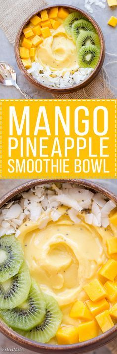 This Mango Pineapple Smoothie Bowl brings the tropics to your breakfast bowl! Customize the toppings on this ultra refreshing &