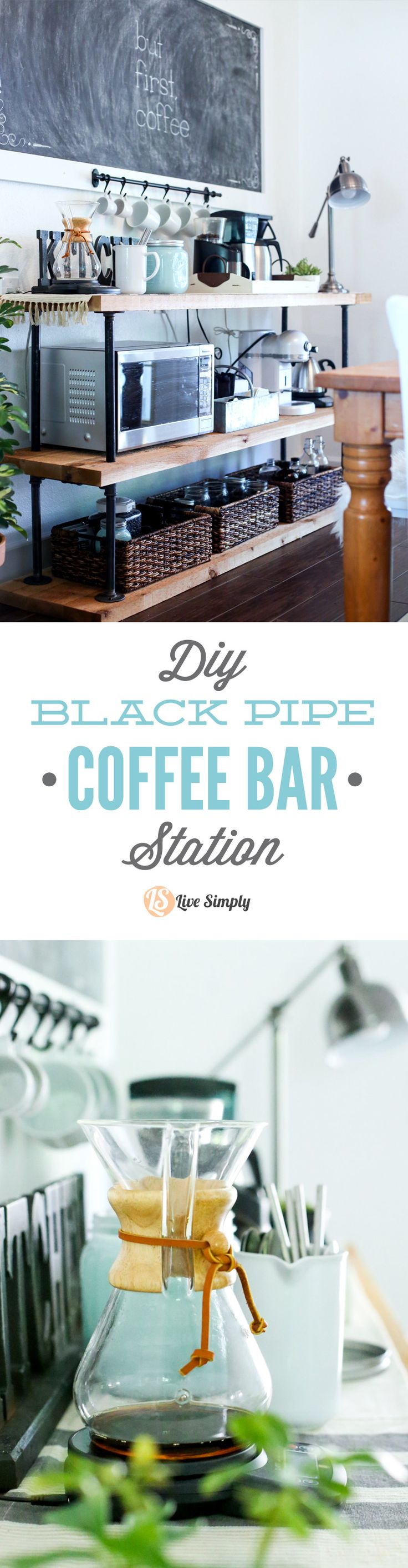 Build your own coffee bar! This project is made with industrial-style black pipes and wood–that's it! Get that classic coffee bar