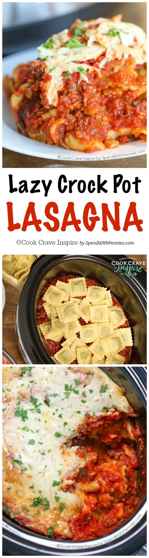 Lazy Crock Pot Lasagna is a family favorite and so quick and easy to make! A delicious meat sauce is layered with cheese and