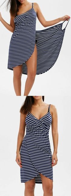 Open Back Striped Cover-ups Dress
