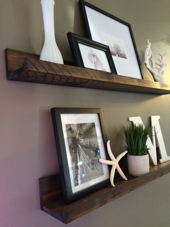 Hanging in my living room – love the rustic look!  Shelf, Rustic Wooden Picture Ledge shelf