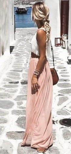 White & blush.  Lace top with skirt.  Summer outfit.  Romantic.  Blonde Hair.  Hair inspiration.  Braids.