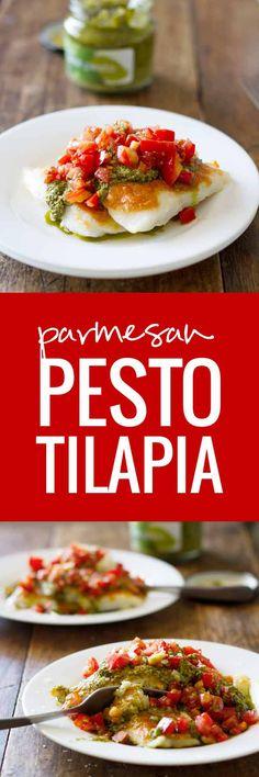 Parmesan Pesto Tilapia – Quick & Easy Tilapia – only 5 ingredients!