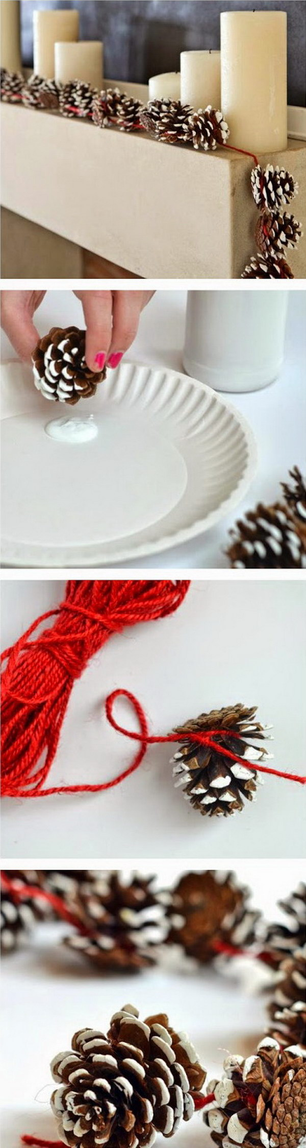 Pine Cone Garlands for Christmas Decoration. Love its rustic look for decoration at home. Super easy crafts that can get your kids