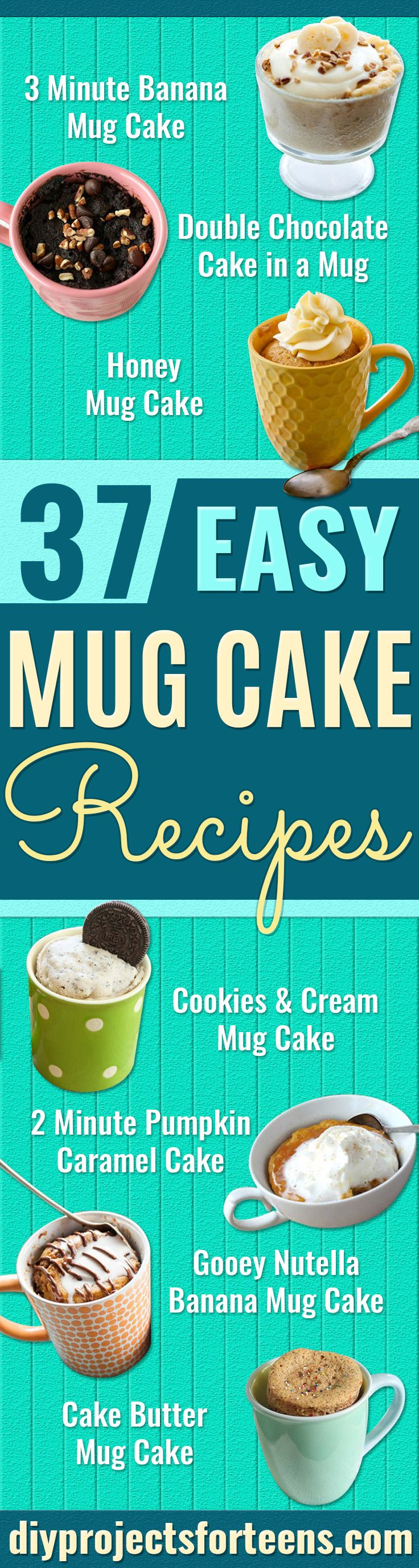 Easy Mug Cake Recipes – Best Microwave Cakes and Ideas for Baking Ckae in The Microwave – Chocolate, Vanilla, Healthy,