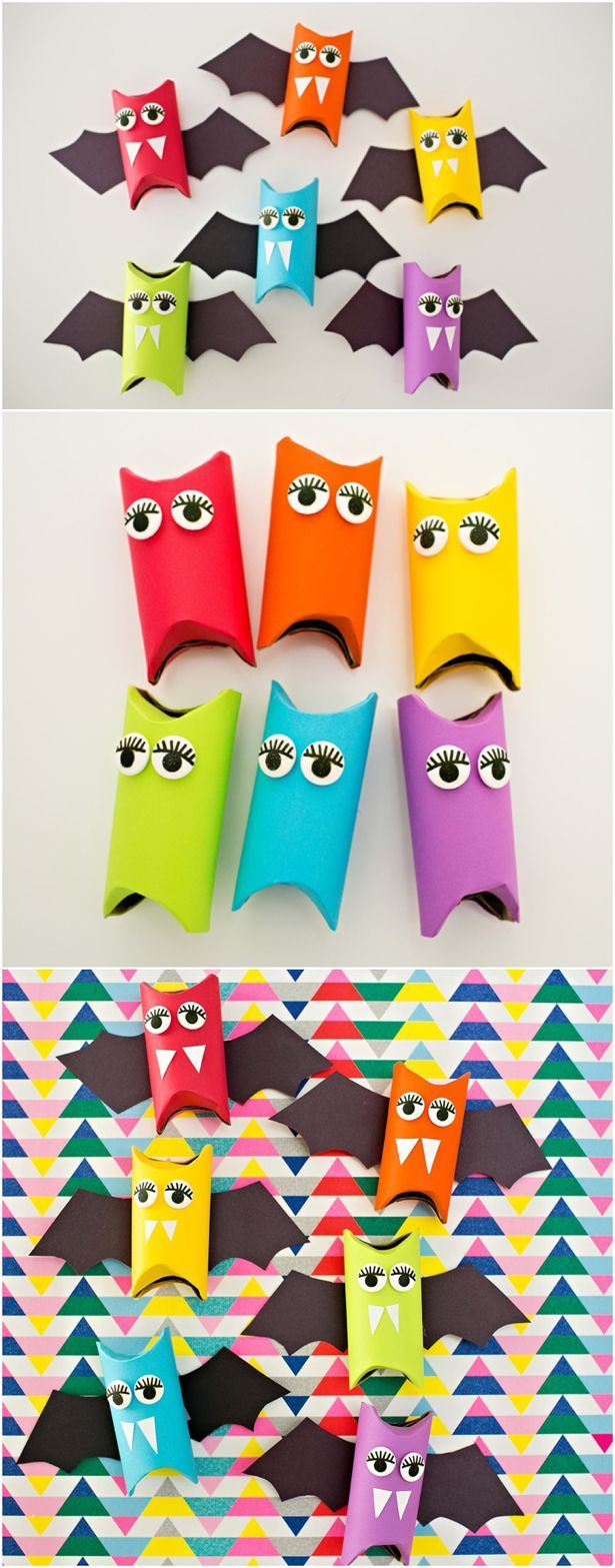 Rainbow Paper Tube Bats – Cute Halloween craft for kids.