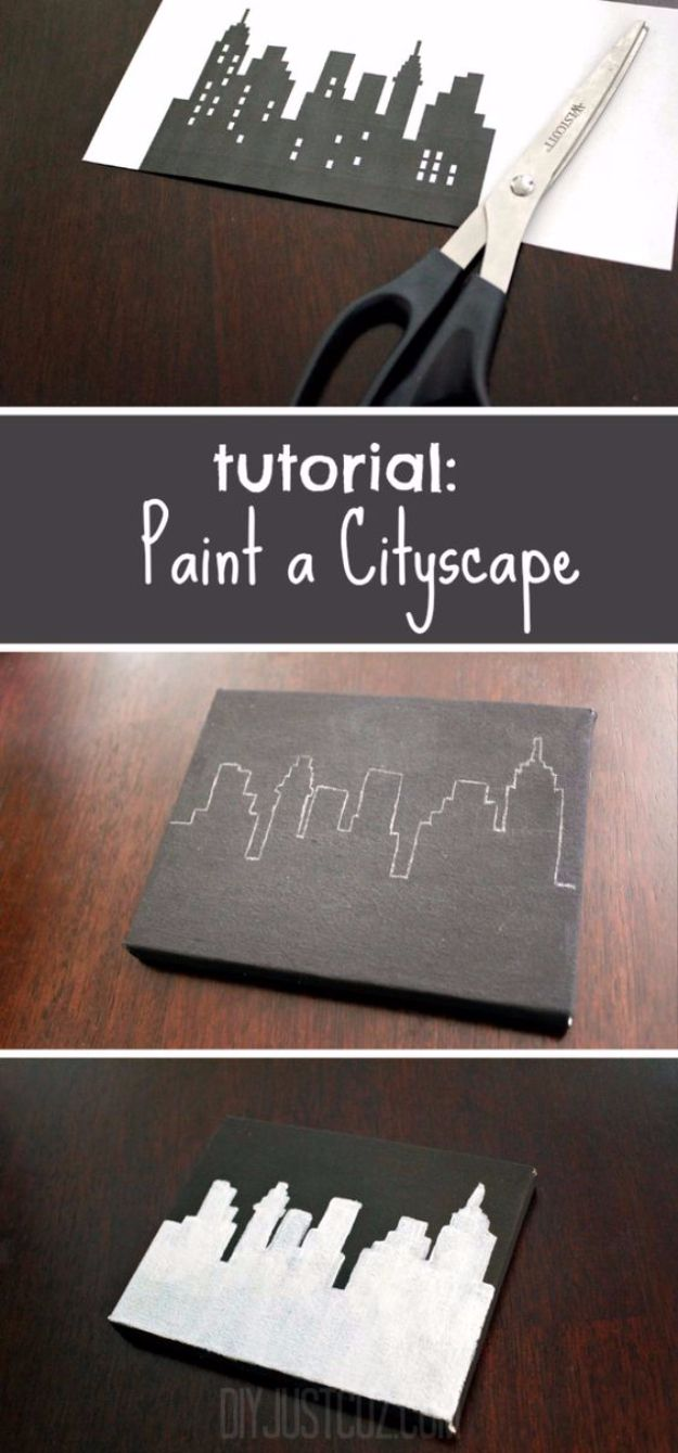 DIY Canvas Painting Ideas – Paint A Cityscape – Cool and Easy Wall Art Ideas You Can Make On A Budget – Creative Arts and Crafts