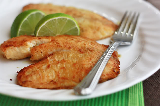 Honey Lime Tilapia – with a simple squeeze of lime juice, delicious. Or, you could certainly serve it with some peach salsa. I