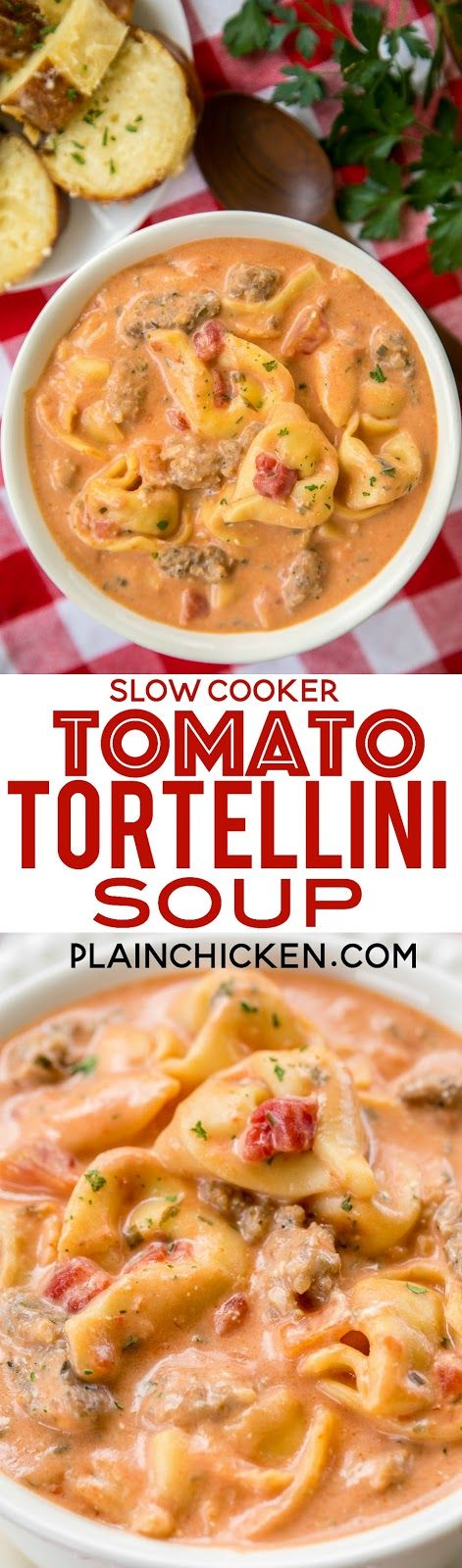 Slow Cooker Tomato Tortellini Soup – seriously delicious! Everyone LOVED this no-fuss soup recipe. Just dump everything in the