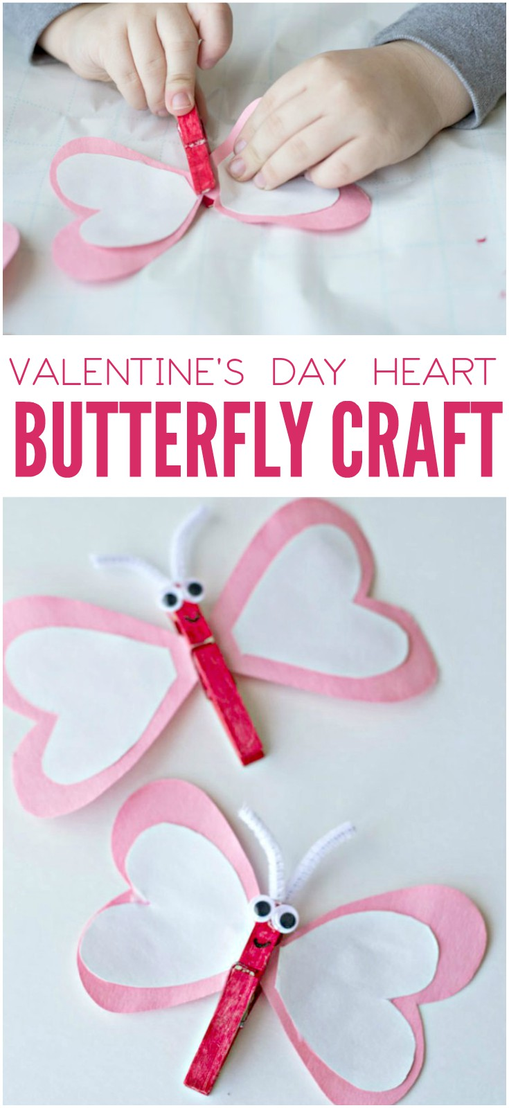 This heart butterfly craft for Valentine's Day is so cute! With heart-shaped wings and red, pink and white colors, the kids will