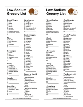Cut out the salt in your diet with this low-sodium grocery list. Free to download and print