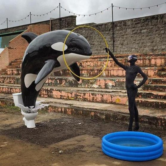 """Killerwhale_jumping_out_of_toilet_-_Banksy's_Theme_Park_""""Dismaland"""""""