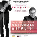 Violonistul Alexandru Tomescu și clavecinistul Andrea Coen susțin, pe 3 iunie, un concert aniversar de Ziua Italiei