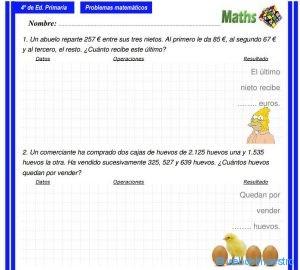 Problemas De Matematicas 4 Primaria Educacion Y Consejos Web Del Maestro