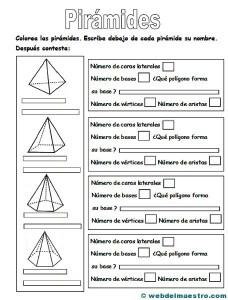 Figuras geometricas tridimensionales primaria: piramides-actividades