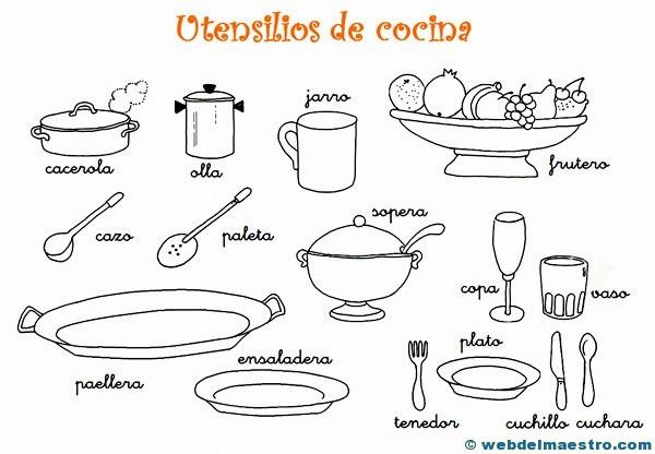 Dibujos para colorear de utensilios de cocina web del for Utensilios de cocina casa joven